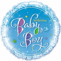Balon Folie 45 cm Welcome Baby Boy Holografic, Qualatex 35312
