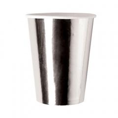 Pahare carton argintiu pentru Revelion - 250 ml, Radar 63540, set 8 bucati