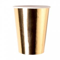 Pahare carton auriu pentru Revelion - 250 ml, Radar 63539, set 8 bucati