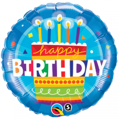 Balon Folie 45 cm Happy Birthday Cake, Qualatex 16695