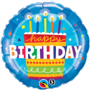 Balon Folie 45 cm Happy Birthday Cake, Qualatex 16695