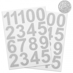 Cifre adezive 0-9 cu sclipici argintiu, Radar 50112, set 34 bucati