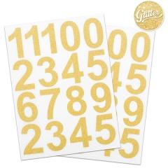 Cifre adezive 0-9 cu sclipici auriu - 4.5 x 3 cm, Radar 50111, set 34 bucati