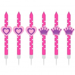Lumanari aniversare pentru tort figurine Princess, Radar 50821, set 6 bucati