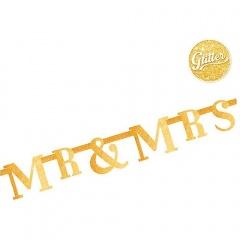 Banner decorativ sclipici Mr & Mr's pentru nunta - 1.3 m, Radar 54473