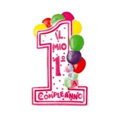 Lumanare aniversara Cifra 1 pentru tort cu buline colorate, Alb & Galben, Amscan RM550281, 1 buc