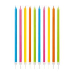 Lumanari aniversare pentru tort multicolore cu suport, Radar 51812, set 10 bucati