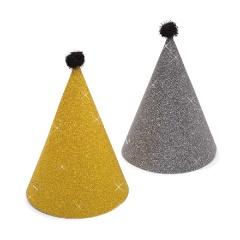 Coifuri de petrecere 16 cm auriu/ argintiu cu sclipici si ciucure, Radar 45508, set 6 bucati