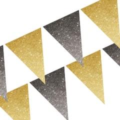 Banner stegulete auriu/negru cu sclipici - 3 m, Radar 45512