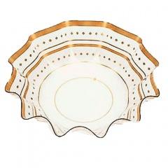 Bol ornamental transparent/auriu pentru petrecere - 16 x 4.5 cm, Radar 60765