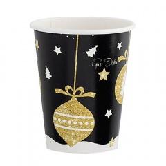 Pahare carton pentru petrecere Christmas Glamour - 250 ml, Radar 63827, set 8 bucati