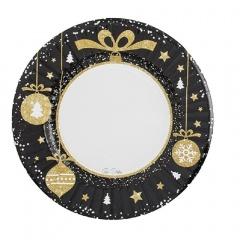 Farfurii carton pentru petrecere Christmas Glamour - 21 cm, Radar 63825, set 8 bucati