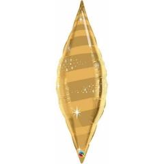 Balon Folie Auriu Metalizat Taper - 97 cm, Qualatex 15573, 1 buc