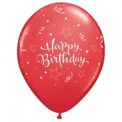 Baloane latex 11''/28cm - Happy Birthday Red, Qualatex 99661, Set 5 buc