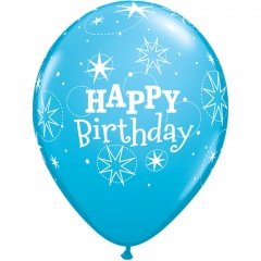 Baloane latex 11''/28cm - Happy Birthday Blue, Qualatex 99685, Set 5 buc