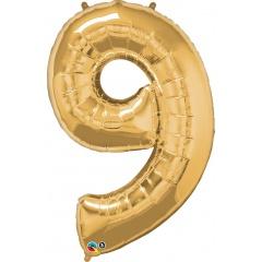 "Balon Folie Mare Cifra 9 Gold - 34""/86cm, Qualatex 30505"