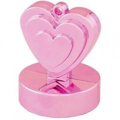 Greutate pentru baloane forma inima - roz, 110 g, Qualatex 12472