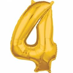Balon Folie Cifra 4 Auriu - 45 x 66cm, Amscan 36557