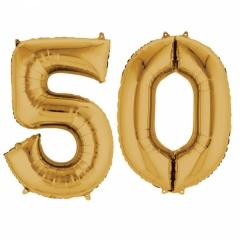 Pachet baloane folii mari numarul 50 auriu - 86cm, Amscan