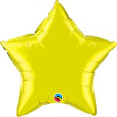 Balon folie metalizat stea citrine yellow - 50cm, Qualatex 12631