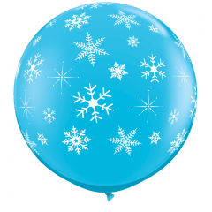 Balon Jumbo 3 FT Albastru Fulgi de Nea, Qualatex 18793