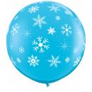 Balon Jumbo 3 FT Albastru Fulgi de Nea, Qualatex 18793