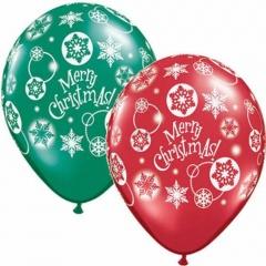 "Baloane latex 11"" inscriptionate Merry Christmas, Qualatex 60132"