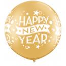"Balon latex Jumbo 30"" inscriptionat Happy New Year, Qualatex 19174, 1 buc"