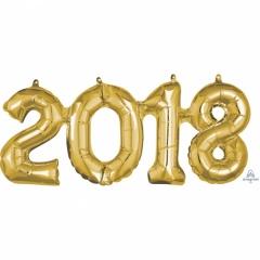Pachet baloane folii 2018 auriu- 50 x 22 cm, Amscan 36520