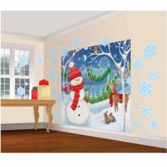 Ornament Sala - Banner-Tapet Mare Scena Iarna, Amscan 670201, 32 piese