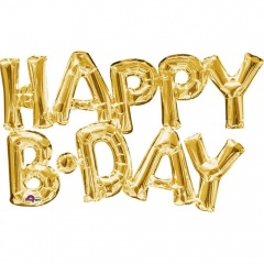 Pachet baloane folie Happy B-day auriu - 76 x 48 cm, Amscan 33759