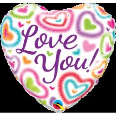 Folie 45 cm Love You puzzy hearts, Qualatex 21805
