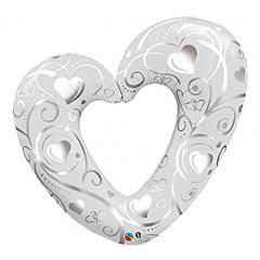Balon folie figurina inima sparta argintie 107 cm, Qualatex 16304