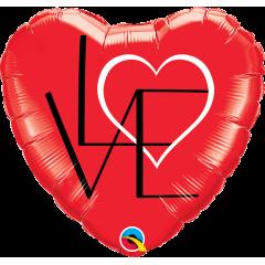 Folie 45 cm inima rosie LOVE, Qualatex 46079