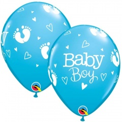 Baloane Latex 11''/28 cm Bleu Baby Boy, Qualatex 54168