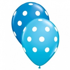 "Baloane latex 11"" inscriptionate Big Polka Dots Dark & Robbin's Egg Blue, Qualatex 54140"