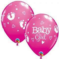 """11"""" Printed Latex Balloons Baby Girl Footprints & Hearts, Qualatex 54165"""