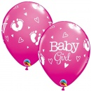 Baloane latex 11''/28cm roz Baby Girl, Qualatex 54165