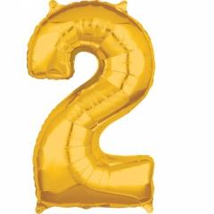 Balon Folie Cifra 2 Auriu - 43 x 66cm, Amscan 36554