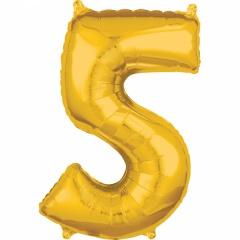 Balon Folie Cifra 5 Auriu -45 x 66cm, Anagram 36558