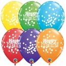 "Baloane latex 11""/28cm inscriptionate Happy Birthday cu buline, Qualatex 52962"