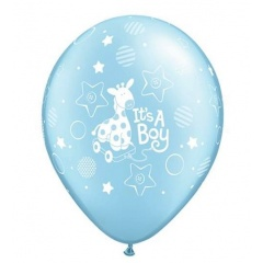 "Baloane latex 11""/28cm inscriptionate It's a boy Soft Giraffe, Qualatex 14514"