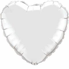 Balon folie argintiu in forma de inima - 45 cm, Qualatex 23138, 1 buc