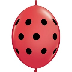 Baloane Latex Quicklink (Cony) Rosu cu buline negre, Qualatex 32025, 10 buc