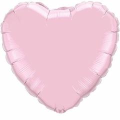 Balon folie inima Pearl Pink, 23 cm, umflat + bat si rozeta Qualatex 54593