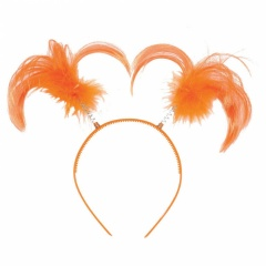 Coronita - Codite portocalii cu pene pentru petrecere, Amscan 399414.05, 1 buc