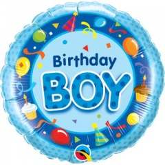 Balon Folie 45 cm, Birthday Boy, Qualatex 26269
