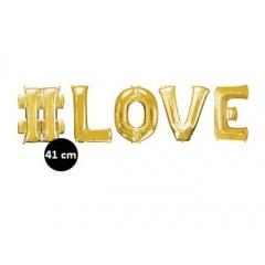 Pachet litere Hashtag LOVE 41 cm auriu, Amscan