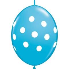 "Baloane Cony Robin's Egg Blue cu buline albe, 12"" (30 cm) Qualatex 90566, 10 buc"