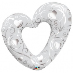 Balon folie minifigurina inima sparta alba, Qualatex 40352